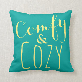 Teal Throw Pillow | Fun Yellow Text Home Decor