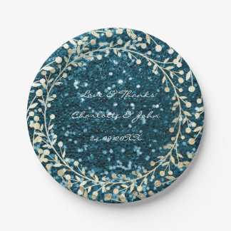 Teal Tiffany Glitter Foxier Gold Wreath Garland Paper Plate