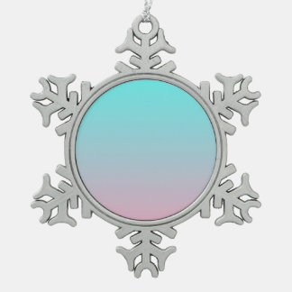 Teal to Pink Simple Gradient Blended Background Pewter Snowflake Ornament