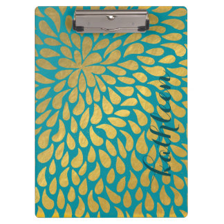 Teal Tones Abstract Gold Droplets Clipboard