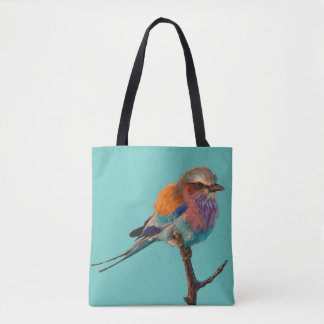 Teal tote bag Pretty song bird Lighthouse Route