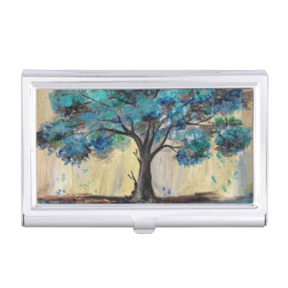 Teal Tree Business Card Holder