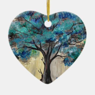 Teal Tree Ceramic Heart Ornament