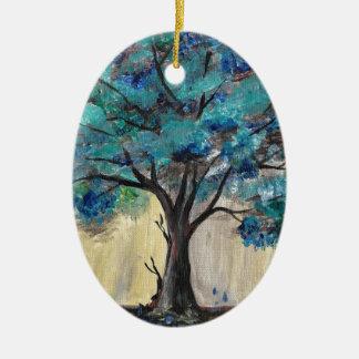 Teal Tree Ceramic Oval Ornament