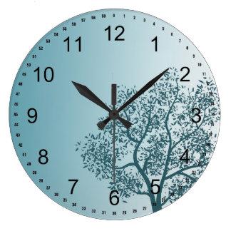 Teal Tree Large Clock