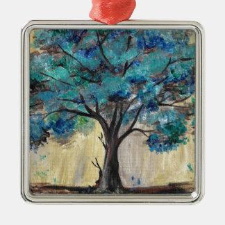 Teal Tree Silver-Colored Square Ornament