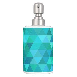 Teal triangle pattern bathroom set