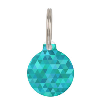 Teal triangle pattern pet tag