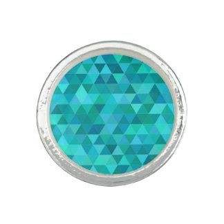 Teal triangle pattern photo ring