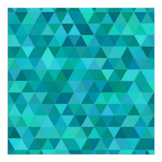 Teal triangle pattern poster