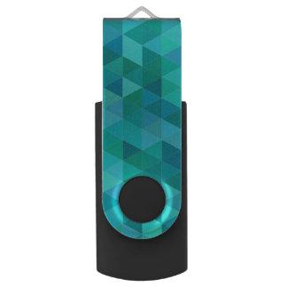 Teal triangle pattern swivel USB 3.0 flash drive