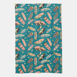 Teal Tribal Feather Pattern Kitchen Towel