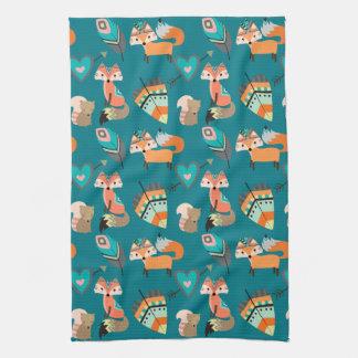 Teal Tribal Fox Pattern Kitchen Towel