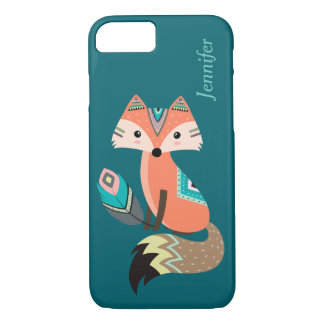 Teal Tribal Fox with Feather iPhone 7 Case
