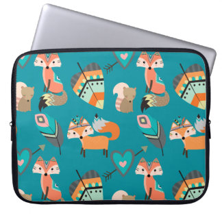 Teal Tribal Foxes Laptop Sleeve