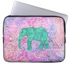 Teal Tribal Paisley Elephant Purple Henna Pattern Laptop Sleeve