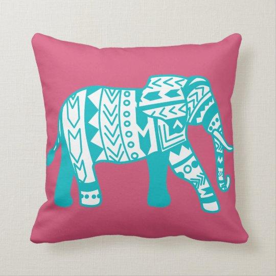 Teal Tribal Walking Elephant Custom Throw Pillow