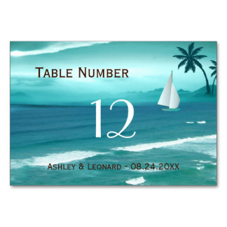 Teal Tropical Beach Wedding Table Number Card