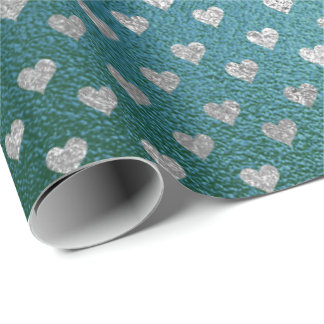 Teal Tropical Green Glass Silver Hearts Gray Wrapping Paper
