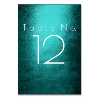 Teal Tropical Green  White Vertical Table Number