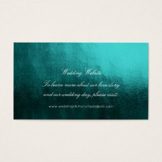 Teal Tropical GreenDelicate Script Wedding Website Business Card