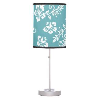 Teal Tropical Hawaiian Floral Print Lamp