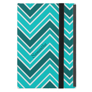 Teal Turquoise and White Chevron Optional Name Cover For iPad Mini
