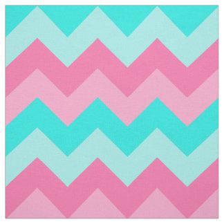Teal Turquoise Aqua Blue Pink Peach Chevron Fabric