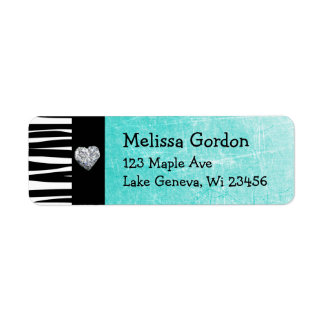 Teal Turquoise Black Zebra Stripes Return Address