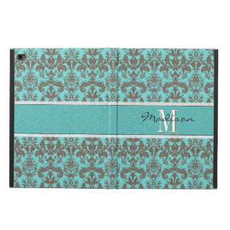 Teal Turquoise blue & Brown Damask,  Personalised Powis iPad Air 2 Case