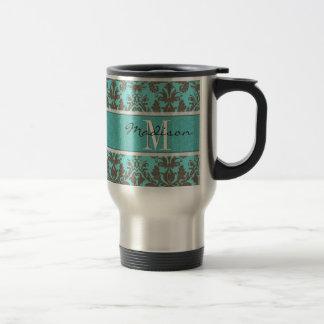 Teal Turquoise blue & Brown Damask,  Personalised Travel Mug