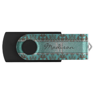 Teal Turquoise blue & Brown Damask,  Personalised USB Flash Drive