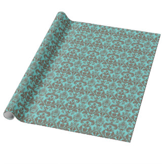 Teal Turquoise blue & Brown Damask Wrapping Paper