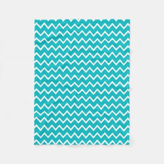 Teal Turquoise Blue Chevron Zigzag Pattern Fleece Blanket
