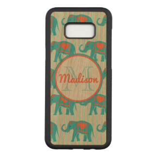 Teal turquoise, blue Elephants, blue stripes name Carved Samsung Galaxy S8+ Case