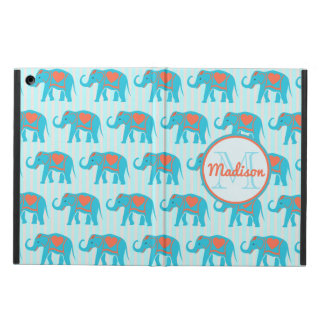 Teal turquoise, blue Elephants, blue stripes name Case For iPad Air