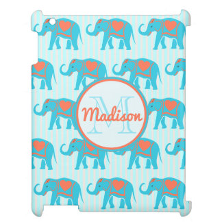 Teal turquoise, blue Elephants, blue stripes name Case For The iPad