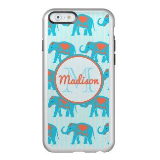 Teal turquoise, blue Elephants, blue stripes name Incipio Feather® Shine iPhone 6 Case