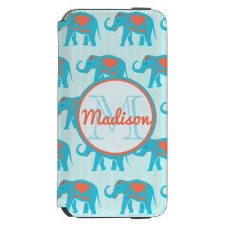 Teal turquoise, blue Elephants, blue stripes name Incipio Watson™ iPhone 6 Wallet Case