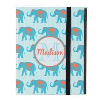 Teal turquoise, blue Elephants, blue stripes name iPad Cover