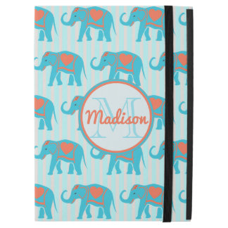 "Teal turquoise, blue Elephants, blue stripes name iPad Pro 12.9"" Case"
