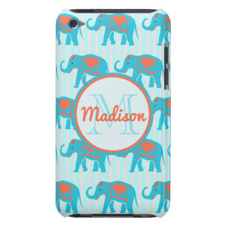 Teal turquoise, blue Elephants, blue stripes name iPod Touch Case-Mate Case
