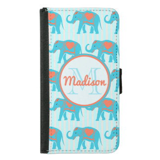 Teal turquoise, blue Elephants, blue stripes name Samsung Galaxy S5 Wallet Case