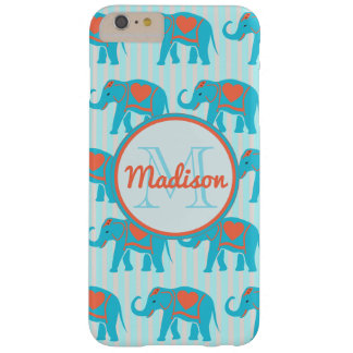 Teal turquoise, blue Elephants on blue stripe name Barely There iPhone 6 Plus Case