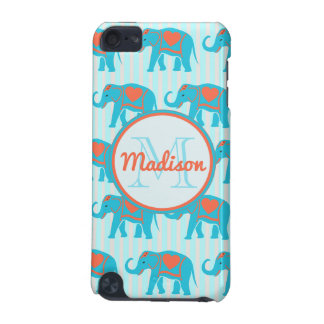 Teal turquoise, blue Elephants on blue stripe name iPod Touch (5th Generation) Covers