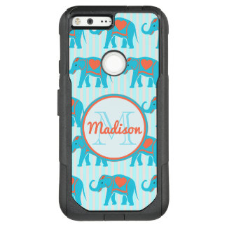 Teal turquoise, blue Elephants on blue stripe name OtterBox Commuter Google Pixel XL Case