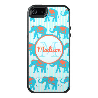 Teal turquoise, blue Elephants on blue stripe name OtterBox iPhone 5/5s/SE Case