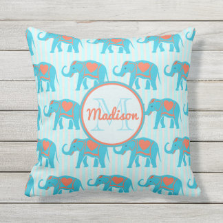 Teal turquoise, blue Elephants on blue stripe name Throw Pillow