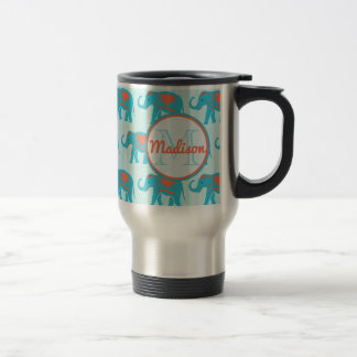 Teal turquoise, blue Elephants on blue stripe name Travel Mug