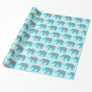 Teal turquoise, blue Elephants, on blue stripes